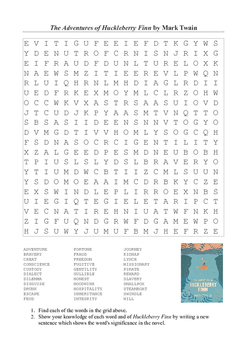 Huckleberry Finn - Vocabulary Word Search