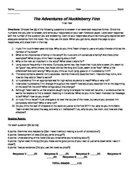 Huckleberry Finn final essay test