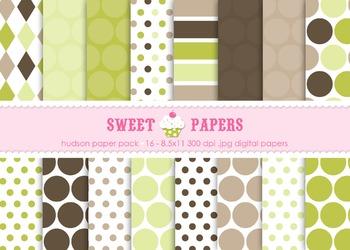 Hudson Brown Green Tan Polkadot Digital Paper Pack - by Sweet Papers
