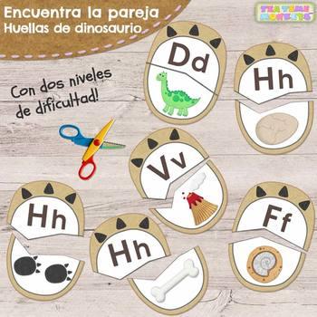 Huellas de Dinosaurio - Encuentra la Pareja // Letter Match in Spanish