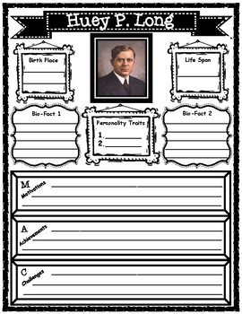 Huey P. Long Research Graphic Organizer