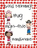 Hug, High-five, Handshake Pirate Poster