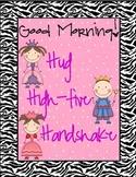 Hug, High-five, Handshake Zebra Poster