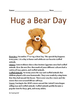 Hug a Bear Day - November 7th lesson information facts activities quiz
