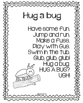 Hug a Bug Poem Freebie