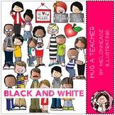 Hug a Teacher clip art - BLACK AND WHITE - by Melonheadz
