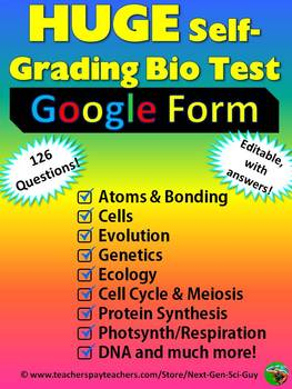 Huge Biology Self-grading Test: 126 Questions in a Variety of Subjects