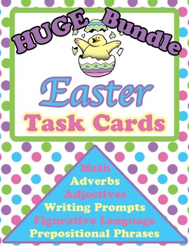 Easter Task Cards Bundle(Adjectives, Adverbs, Figurative Language, Math, & More)