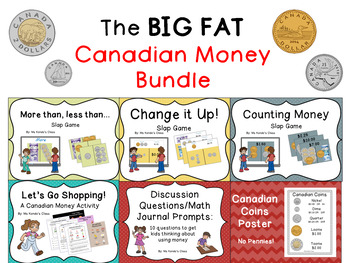 Huge CANADIAN MONEY Bundle: Games, Activities, Task Cards, Worksheets & More!