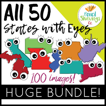 Huge Clip Art Bundle! | All 50 States with Eyes (100 Total images!)