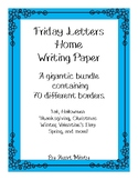 Huge Friday Letters Home Stationary Bundle, Writing Paper,  Seasonal Borders
