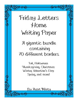 Huge Friday Letters Home Stationary Bundle, Writing Paper,  Seasonal Borders