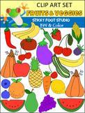Huge Fruits and Vegetables Clip Art Set (Color & BW)