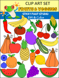Huge Fruits and Vegetables Clip Art Set (Color & BW)