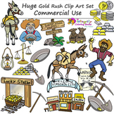 Huge Gold Rush Clipart Set - Commercial Use