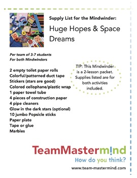 Huge Hopes & Space Dreams - A 2-lesson packet of goal setting fun!