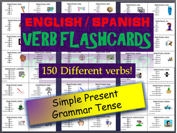 Huge Lot of English & Spanish Flash Cards in the Simple Present Tense