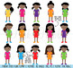 Huge Pack of African American Female Student Clipart Clip Art, Classroom Clipart
