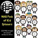 Huge Pack of Kid Spinners Clip Art