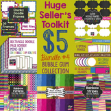 Huge Seller's Toolkit Bundle #4! Bubble Gum Papers, Borders, Frames, & Accents!