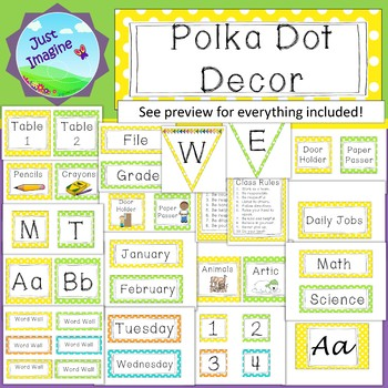 Polka Dot Brights Classroom Décor/Labels - yellow, lime, orange, blue