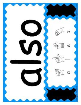 Huge Set of Sight Words with ASL Finger Spelling - 460 Large Poster Cards
