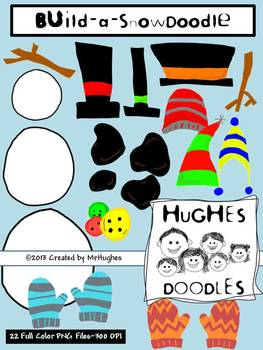 Build a Snowman Clip Art- Hughes Doodles {Personal and Commercial Use}