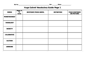 Hugo Cabret Vocabulary Part 1 of 3