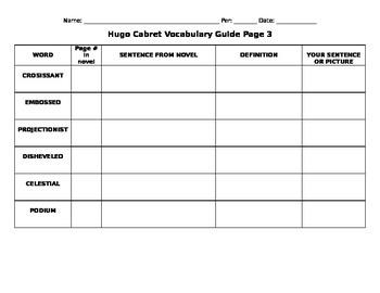 Hugo Cabret Vocabulary Part 3 of 3