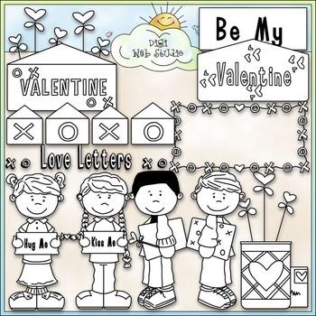 Hugs & Kisses Valentine Clip Art - Valentine's Day Clip Art - CU Clip Art & B&W