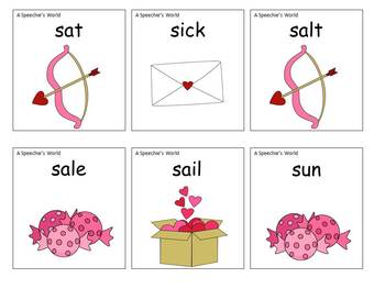Hugs and Kisses Valentine's Articulation S, S blends, R, and R blends