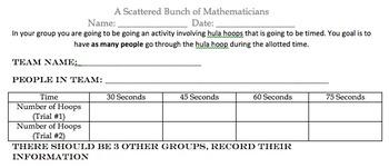 Hula Hoop Scatter Plot Activity