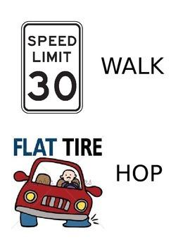 Hula Hoop Trip with road signs Locomotor and Nonlocomotor movements