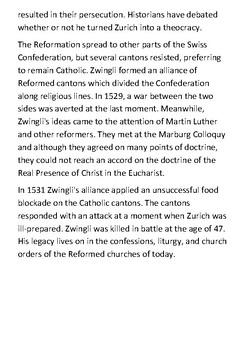 Huldrych Zwingli Handout