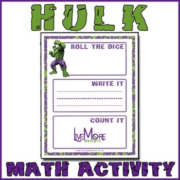 Hulk Roll It, Write It, Count It Math Game