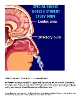 Human A&P Special Senses Lecture notes and Student Study Guide
