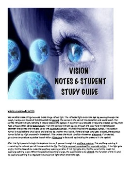 Human A&P Vision Lecture notes and Student Study Guide