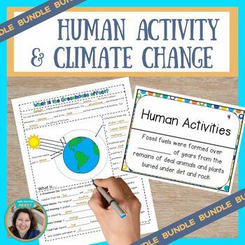 Human Activities & Global Climate Change Sketch Notes, Quiz, & Game Bundle