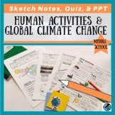 Human Activity & Global Climate Change Sketch Notes, Quiz, & PPT