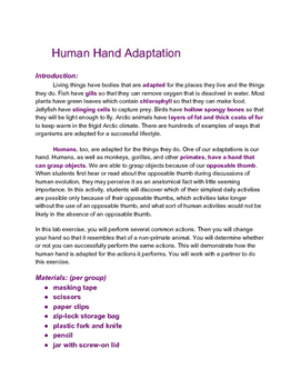 Human Adaptations Science Experiment