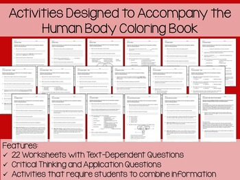 Human Body Systems Coloring and Literacy Assistant