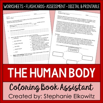human body coloring and science literacy unit assistant - Human Body Coloring Book