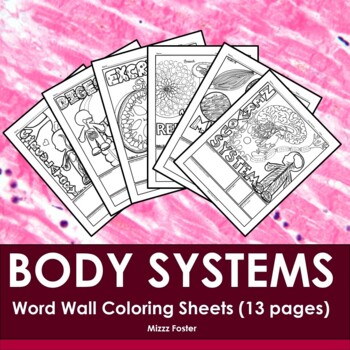 Human Anatomy Physiology Body Systems Word Wall Coloring Sheets