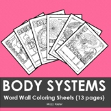 Human Anatomy & Physiology: Body Systems Word Wall Coloring Sheets