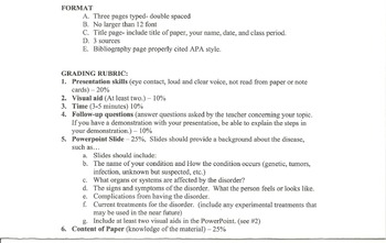 Human Anatomy & Physiology Oral Presentation Topics and Rubrics