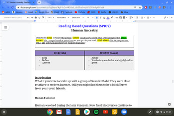Human Ancestry Differentiated Reading Assignment