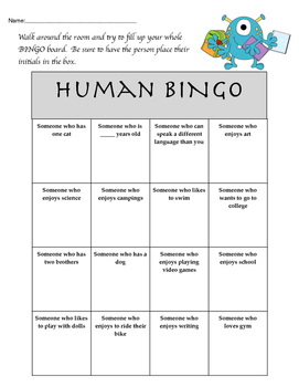 Human BINGO - First Days of School - Community Builder