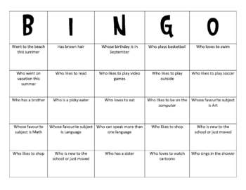 human bingo class activity