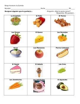 Human Bingo- Favorite Foods