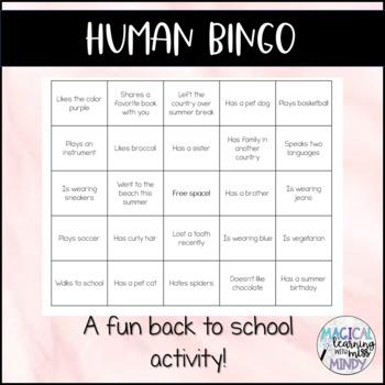 Human Bingo - First Day of School Activity